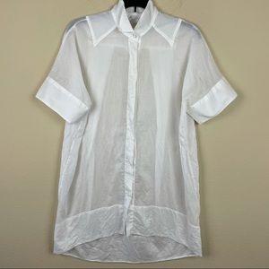 Byron Lars white shirt shirt sleeve semi sheer 2
